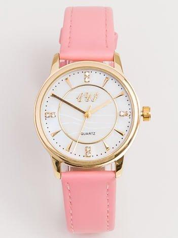Różowy Mały Zegarek Damski Z Perłową Tarczą i Cyrkoniami
