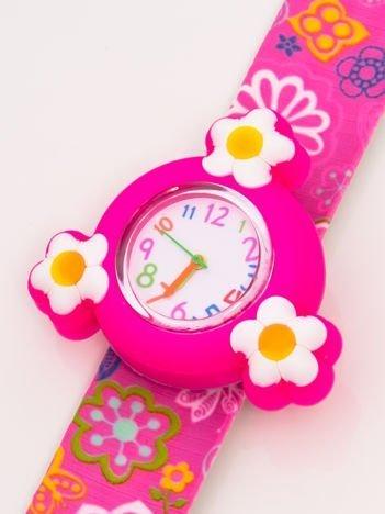 Różowy OBROTOWY zegarek dziecięcy z paskiem typu SLAP