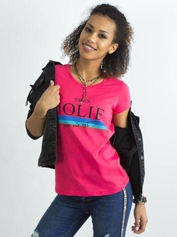 Różowy bawełniany t-shirt z napisem