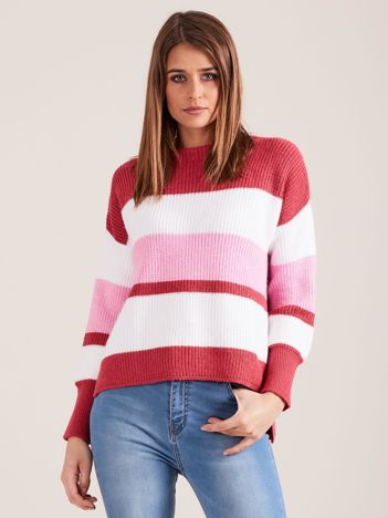 Różowy sweter damski w paski