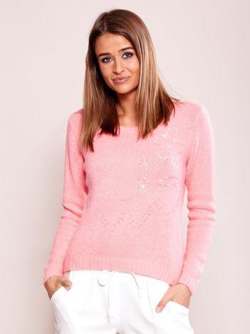 Różowy sweter damski z cekinami
