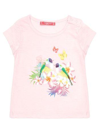 Różowy t-shirt dla dziewczynki z egzotycznym nadrukiem i cekinami