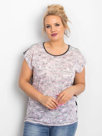 Różowy t-shirt plus size Brighter
