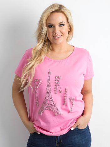 Różowy t-shirt z aplikacją PLUS SIZE