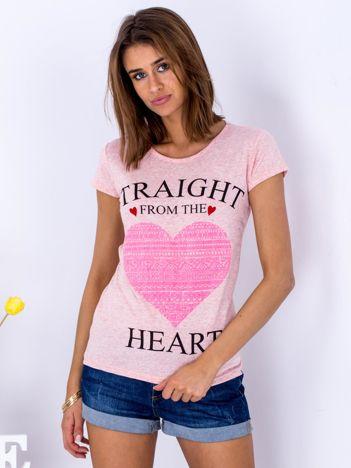 Różowy t-shirt z sercem