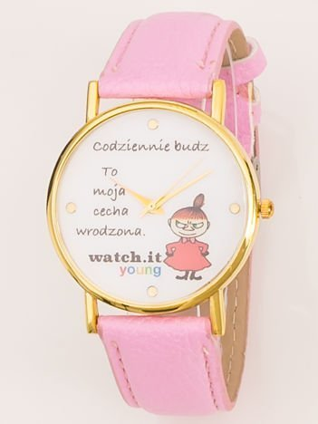Różowy zegarek damski z żartobliwym napisem