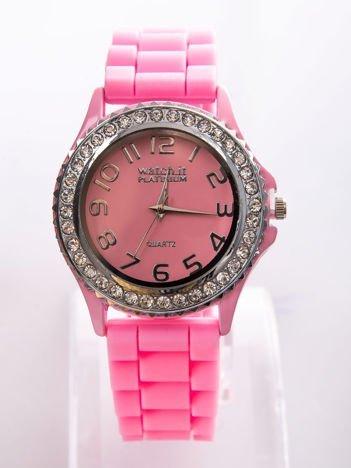 Różowy zegarek silikonowy damski