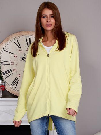 Rozpinana bluza z kapturem żółta