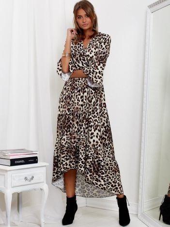 SCANDEZZA Beżowa długa sukienka w panterkę z dłuższym tyłem