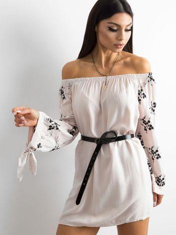 SCANDEZZA Beżowa tunika z haftem