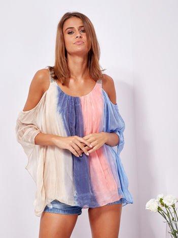 SCANDEZZA Beżowo-niebieska bluzka ombre bez ramion z cekinami