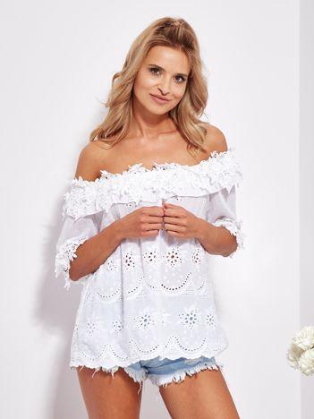 SCANDEZZA Biała bluzka hiszpanka z haftem i perełkami