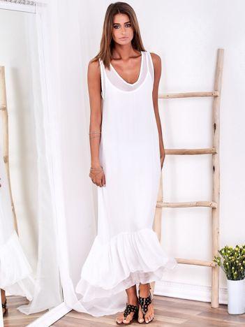 SCANDEZZA Biała długa sukienka z falbaną