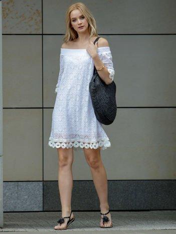 SCANDEZZA Biała koronkowa sukienka hiszpanka