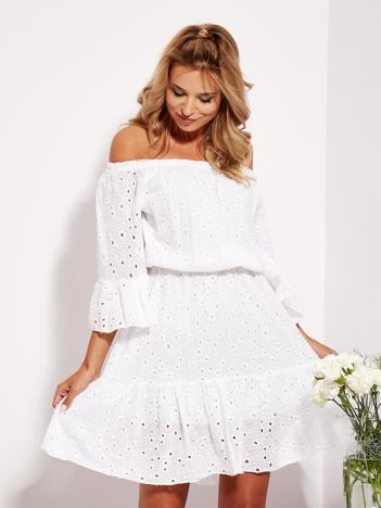 SCANDEZZA Biała rozkloszowana sukienka hiszpanka z haftem
