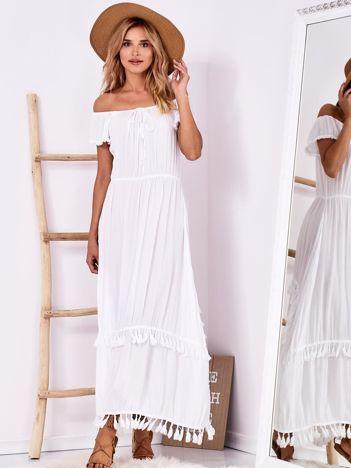 SCANDEZZA Biała sukienka maxi z asymetrycznym tyłem