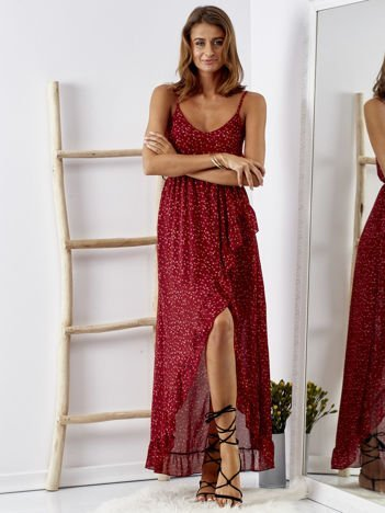 SCANDEZZA Bordowa sukienka w drobny kwiatowy wzór