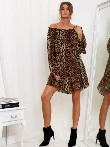 SCANDEZZA Brązowa luźna sukienka hiszpanka w panterkę