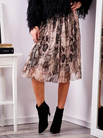 SCANDEZZA Brązowa plisowana spódnica midi