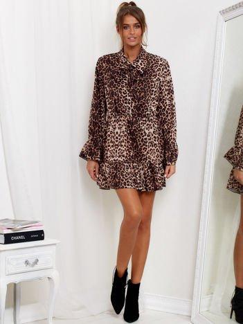 SCANDEZZA Brązowa sukienka w panterkę z wiązanym chokerem