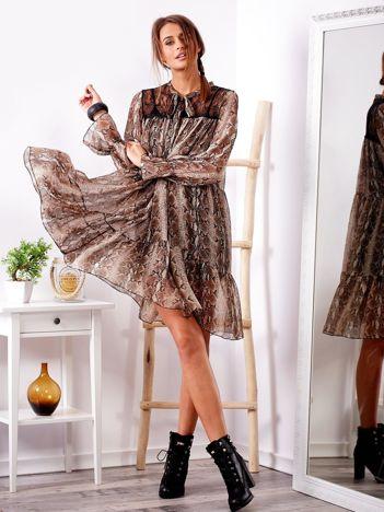 SCANDEZZA Brązowa sukienka we wzory