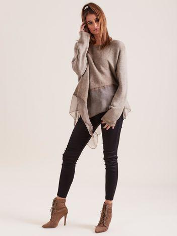 SCANDEZZA Ciemnobeżowa asymetryczna bluzka z metaliczną nicią