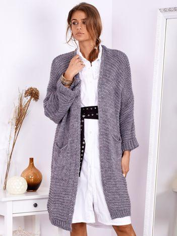 SCANDEZZA Ciemnoszary długi otwarty sweter z kieszeniami