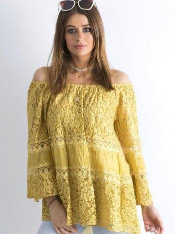 SCANDEZZA Ciemnożółta luźna bluzka hiszpanka