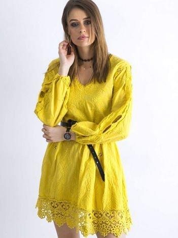 SCANDEZZA Ciemnożółta luźna sukienka