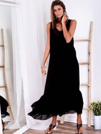 SCANDEZZA Czarna długa sukienka z falbaną