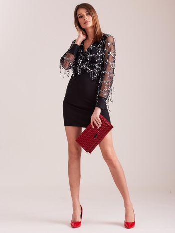 SCANDEZZA Czarna sukienka z cekinami