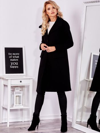 SCANDEZZA Czarny elegancki płaszcz