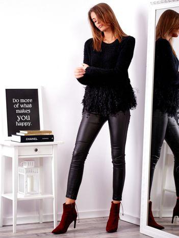 SCANDEZZA Czarny sweter z frędzlami