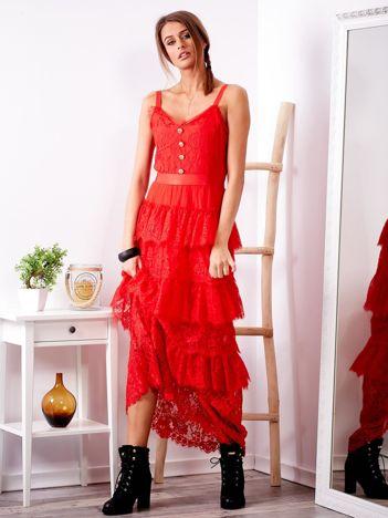 SCANDEZZA Czerwona sukienka z falbanami