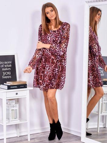 SCANDEZZA Fioletowa wzorzysta sukienka