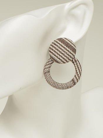 SCANDEZZA Kolczyki damskie pokryte materiałem brązowo-beżowe