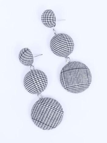SCANDEZZA Kolczyki damskie pokryte materiałem granatowo-białe