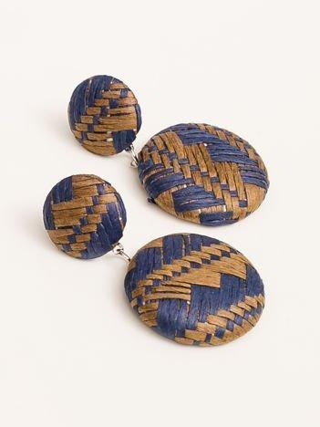 SCANDEZZA Kolczyki damskie pokryte materiałem niebiesko-brązowe