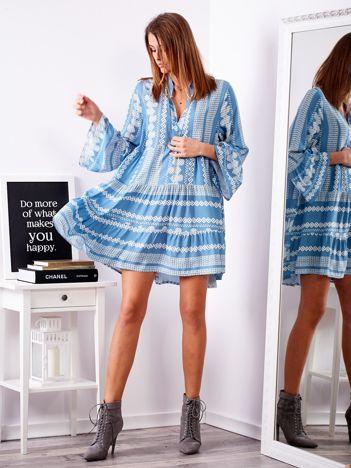 SCANDEZZA Niebieska sukienka w etniczne wzory