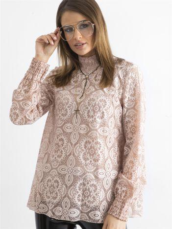 SCANDEZZA Różowa koronkowa bluzka