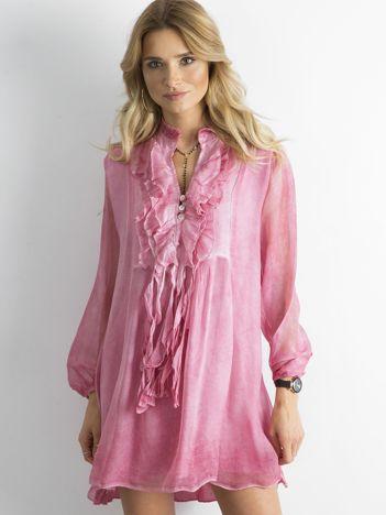 SCANDEZZA Różowa sukienka z żabotem