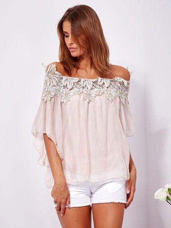 SCANDEZZA Różowa warstwowa bluzka hiszpanka z koronką