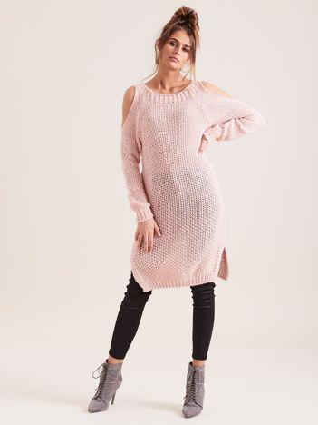 SCANDEZZA Różowy sweter cold arms