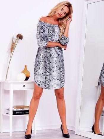 SCANDEZZA Szara sukienka hiszpanka w wężowe wzory z paskiem
