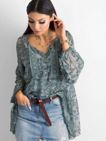 SCANDEZZA Zielona bluzka we wzory