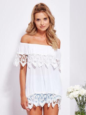 SCANDEZZA Zwiewna biała bluzka hiszpanka z koronką