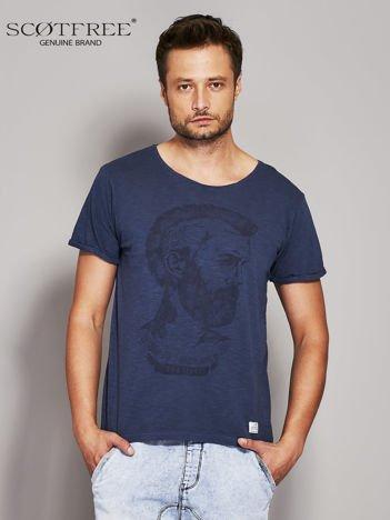SCOTFREE Granatowy t-shirt męski z nadrukiem