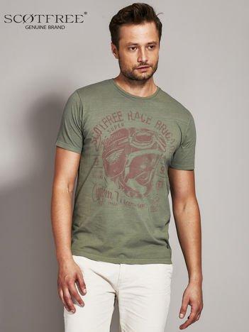 SCOTFREE Khaki t-shirt męski z nadrukiem vintage