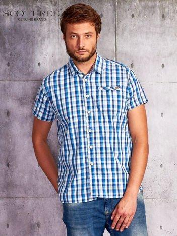 SCOTFREE Niebieska koszula męska w drobną kratę