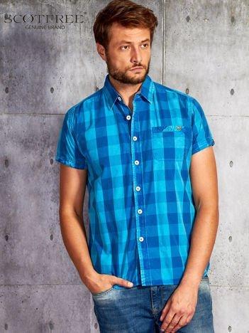 SCOTFREE Niebieska koszula męska w kratę